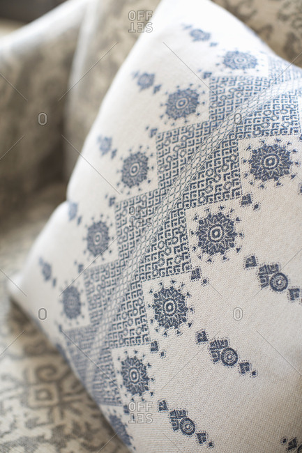 Ornate stitched throw pillow detail