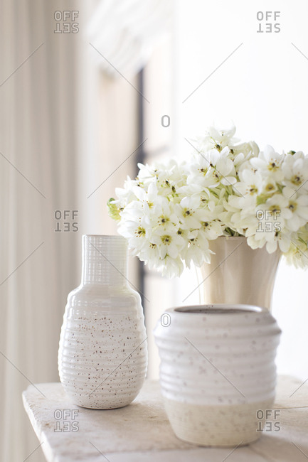 Flowers and decorative pottery displayed on mantel