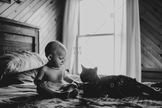 Toddler and cat sitting together on bed