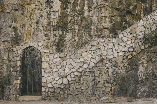 Hillside stone structure entryway