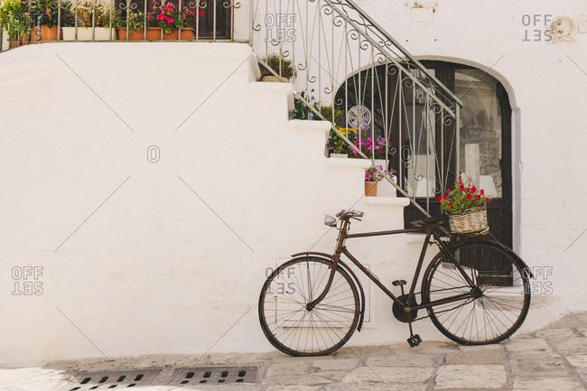 Floral delivery bike parked outside