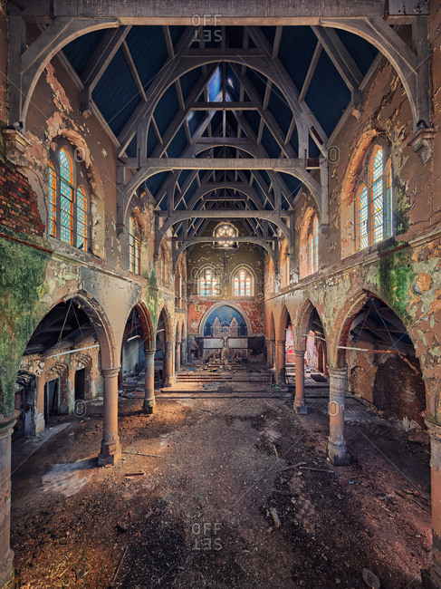 Wigan, United Kingdom - August 4, 2017: Colorful interior of abandoned church