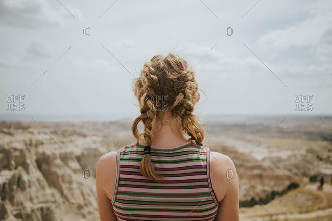 Rear view of a girl's messy braids
