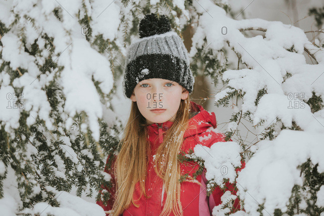 Portrait of a girl in the snow