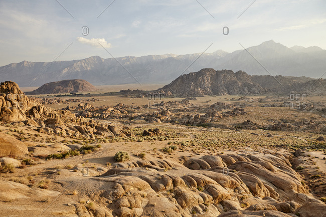 Desert valley with unique rock formations