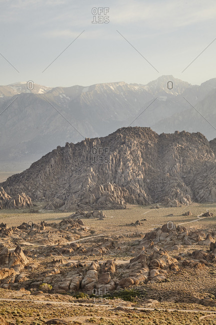 Desert valley and rugged mountain ranges