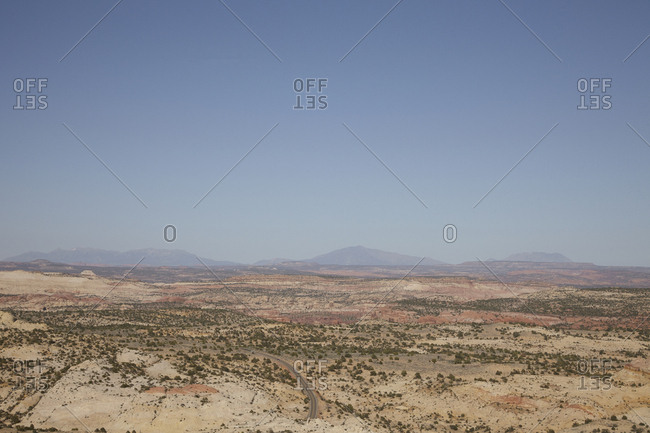 Scenic view of vast desert valley