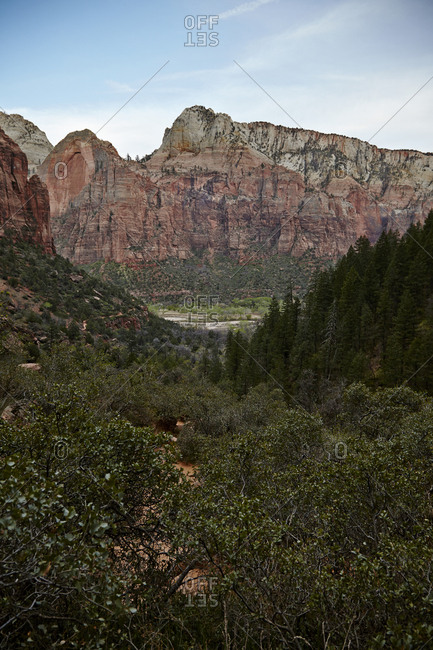 Scenic view of mountain peak with red rocks and forested area