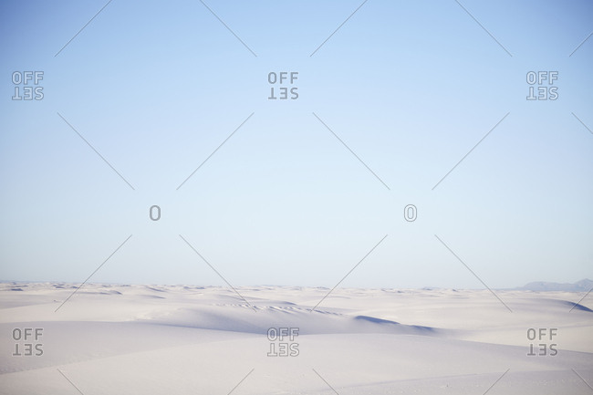 Vast area of white sand dunes in the desert
