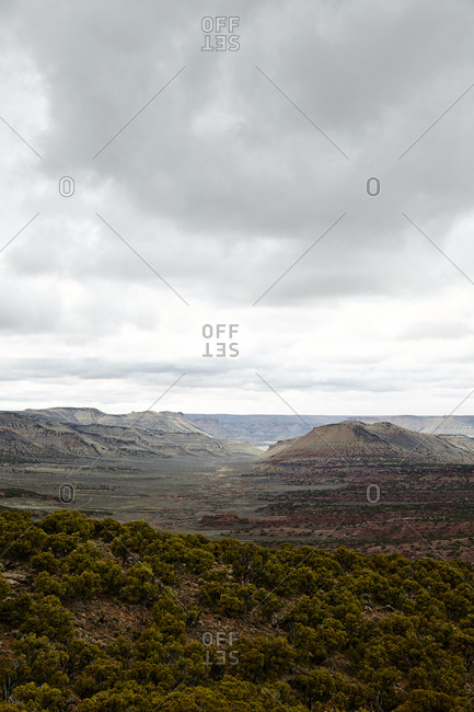 Scenic view of plateaus in the desert on a cloudy day