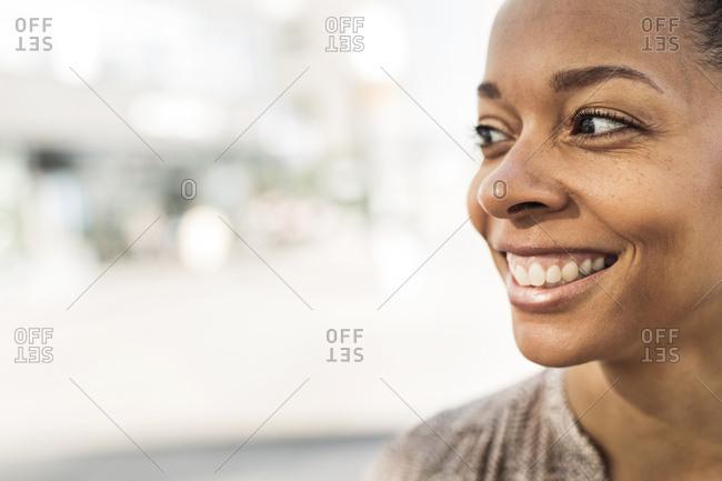 Portrait of brunette woman smiling
