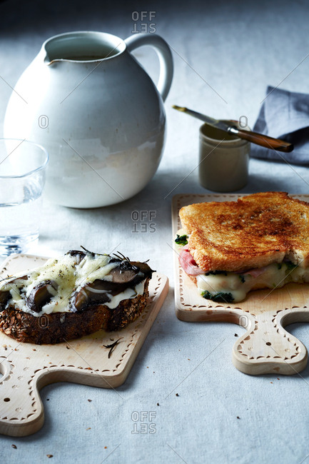 Roasted Portobello melt and a grilled ham and broccoli rabe sandwiches