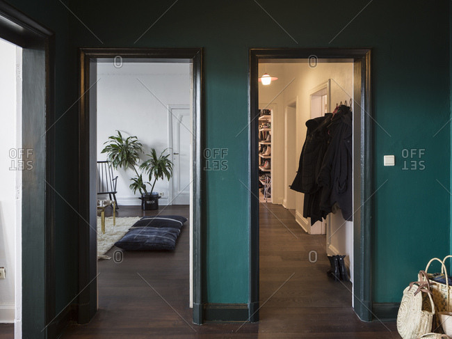 Antwerp, Belgium - January 16, 2018: Interior of a modern designed and decorated apartment in Antwerp