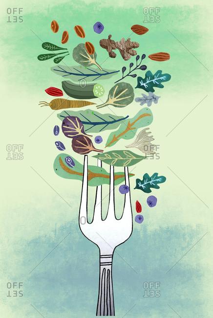 Fork with vegetables