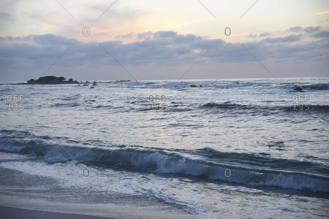 Wide ocean view at sundown