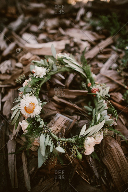 Bridal flower crown in nature setting