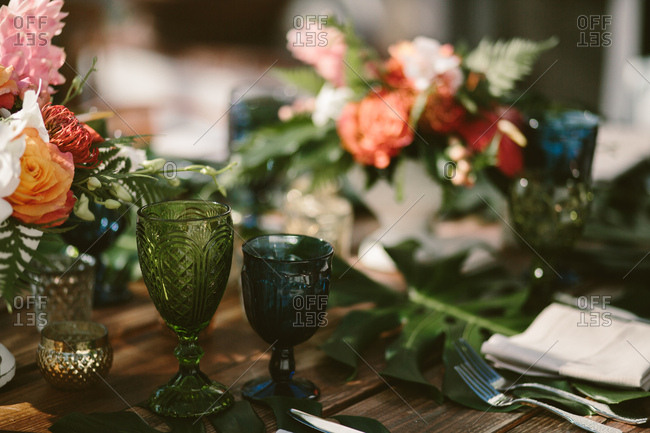 Decorative colored glass wedding reception tableware