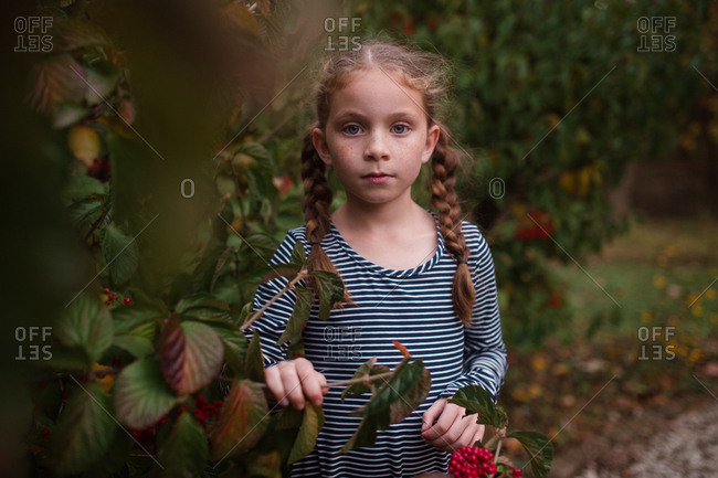 Portrait of a girl looking through bushes