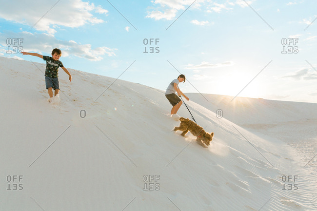 Two boys and dog playing on hills at White Sands National Monument