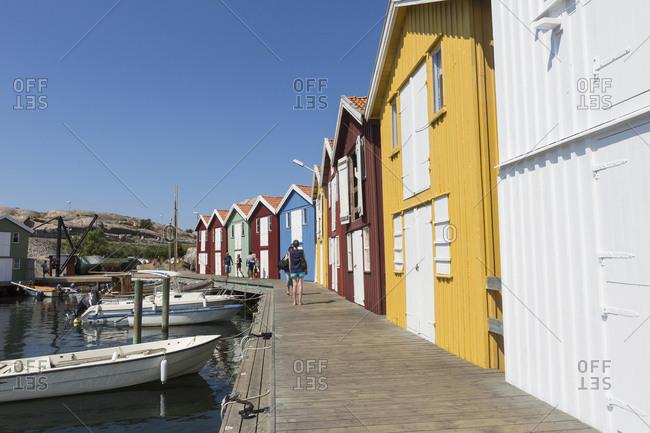 Smogen, Sweden - July 23, 2014: Colorful boat houses