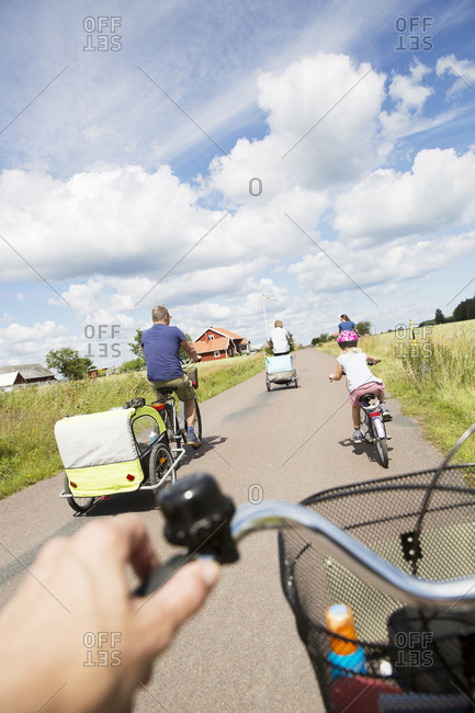 Family cycling in Smaland, Sweden
