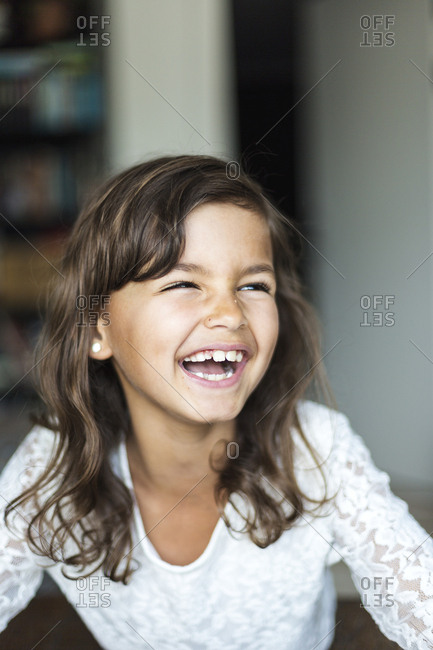 Portrait of girl laughing in Sweden