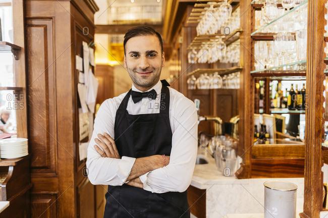 Waiter at bakery in Sweden