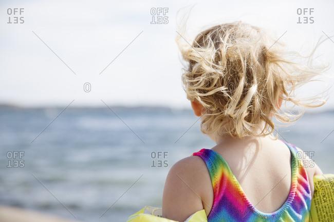 Girl at beach in Bohuslan, Sweden