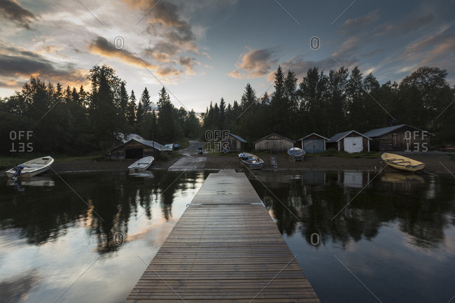 Pier on lake in Jamtland, Sweden