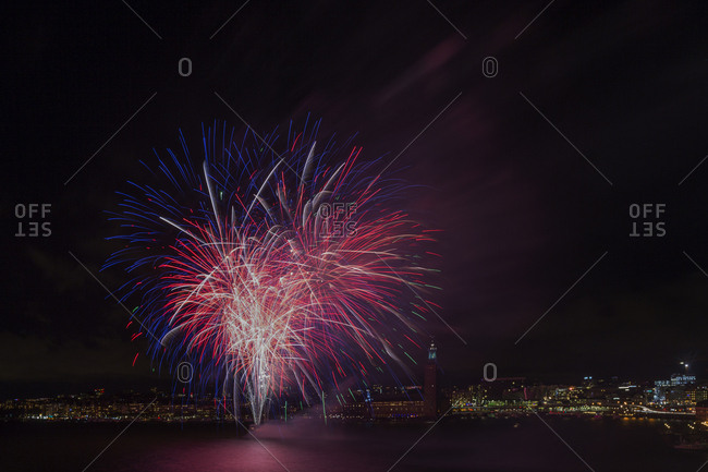 Fireworks display in Stockholm, Sweden