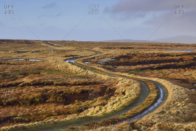 Rural road in Shetland, Scotland