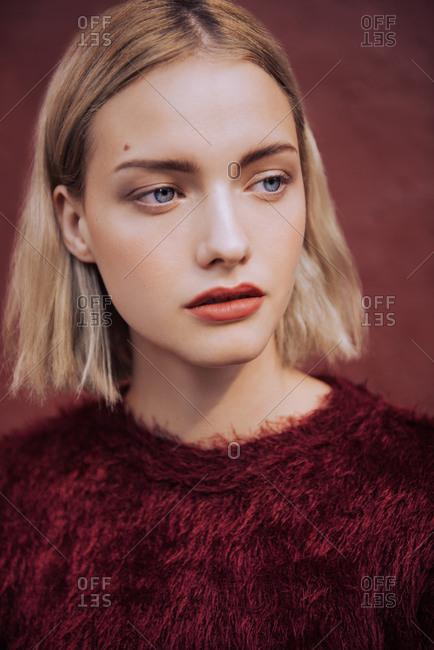 Stylized fashion portrait of blonde woman