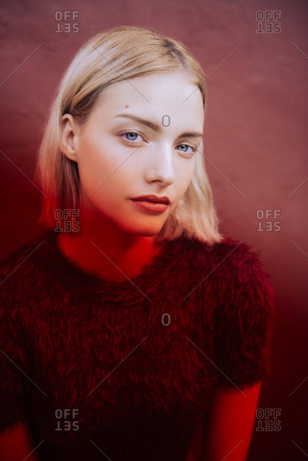 Stylized fashion portrait of blonde woman