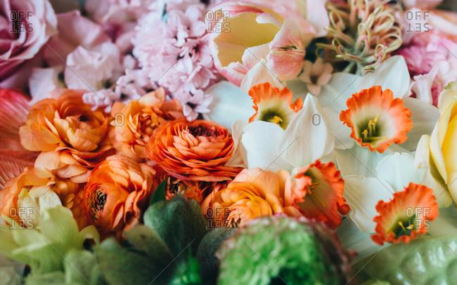 Close up of springtime flowers artfully arranged