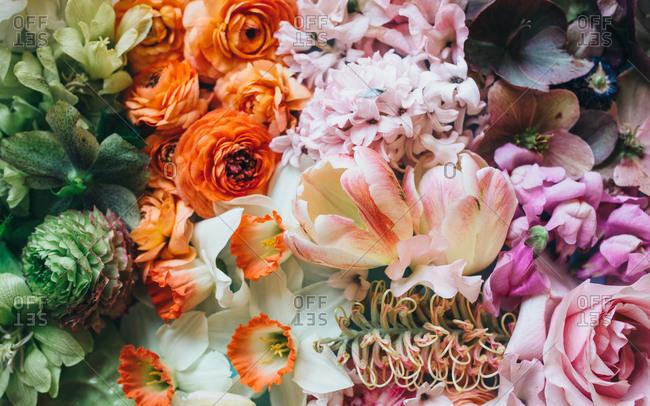 Modern springtime floral arrangement