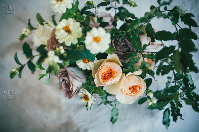 Close up of modern floral bouquet with soft muted colors