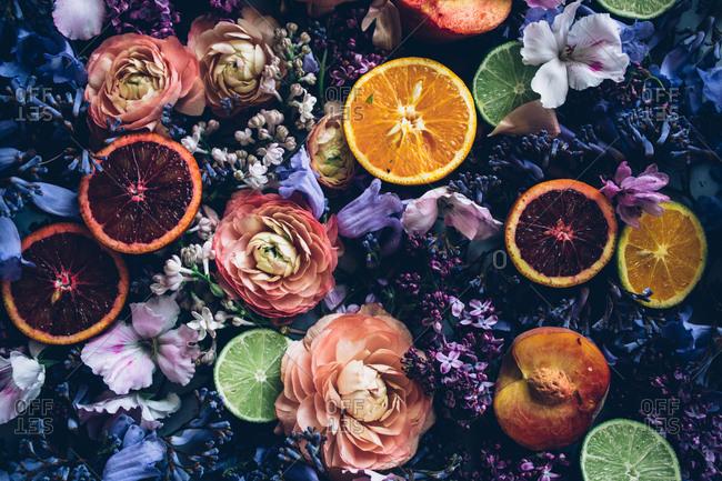 Blood oranges and fresh florals