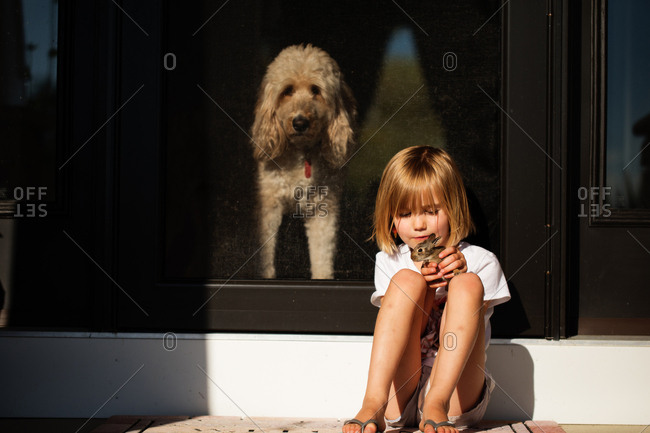 Girl holding bunny with dog