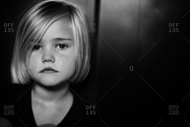 Portrait of a little girl black and white
