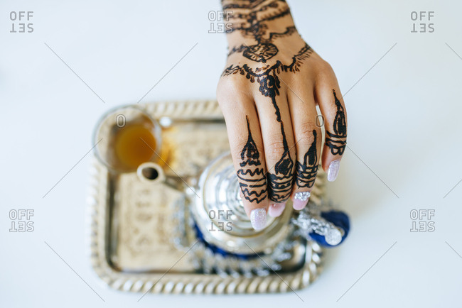 Morocco- woman's hand with henna tattoo- close-up