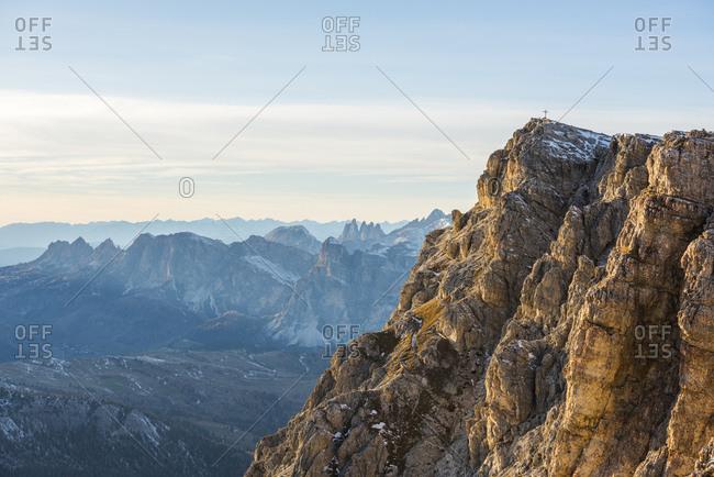 Italy- Veneto- Dolomites- Summit of Lagazuoi in the evening light