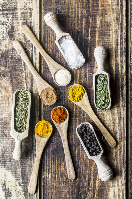 Spices- curry- chilli- cinnamon- curcuma- garlic- parsley- oregano- salt and pepper on wooden spoons
