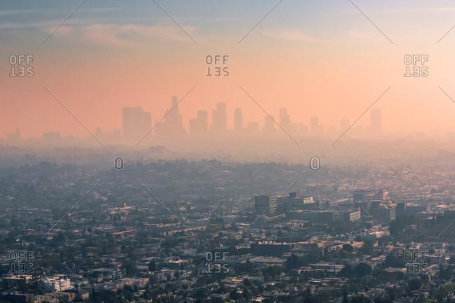 USA- California- Los Angeles- smog over Los Angeles