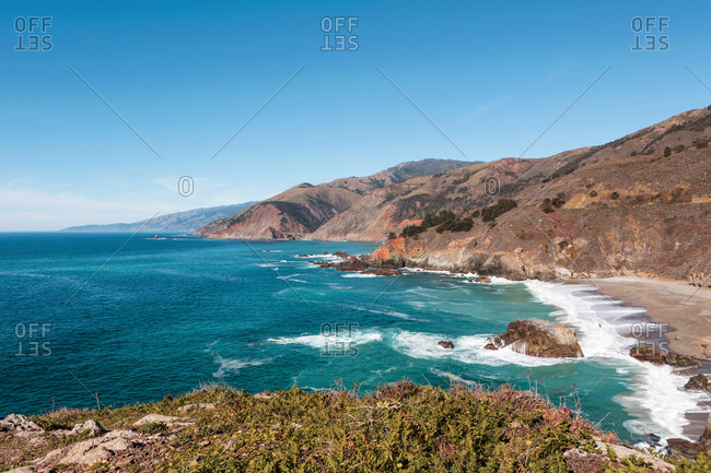 USA- California- View of coast with beach- Big Sur National Park