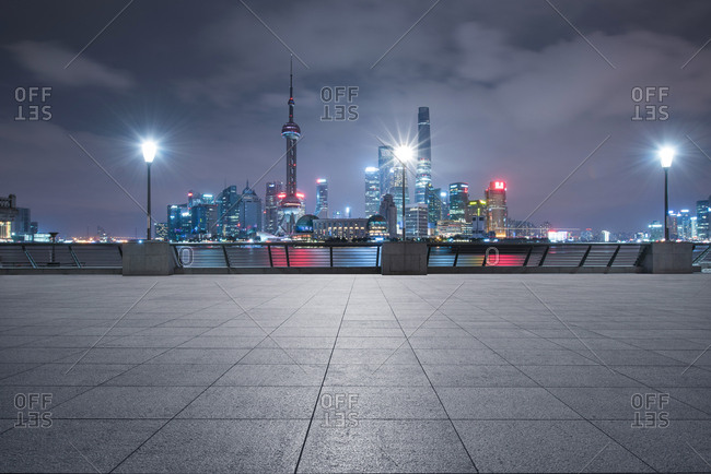 Shanghai, China-January 31, 2015: The pudong district of Shanghai at night