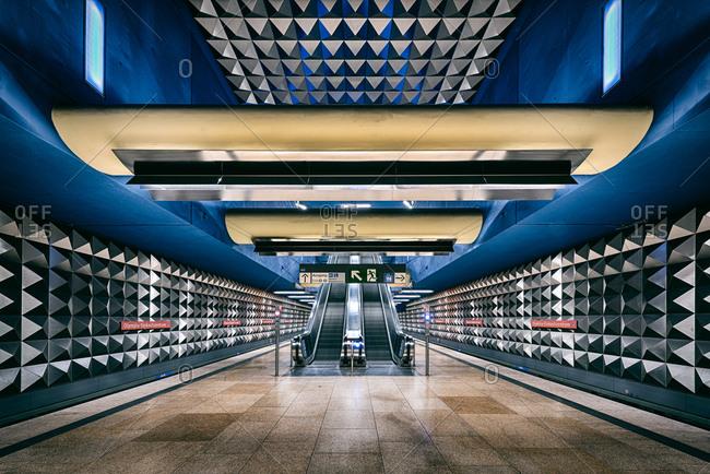 Munich, Germany-June 5, 2015: Subway station decoration