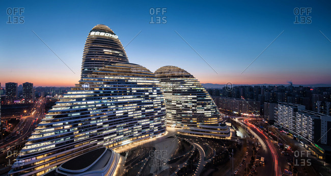 Beijing, China-January 21, 2015: Wangjing SOHO Night