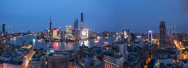 Shanghai, China-September 13, 2015: Shanghai urban construction at night