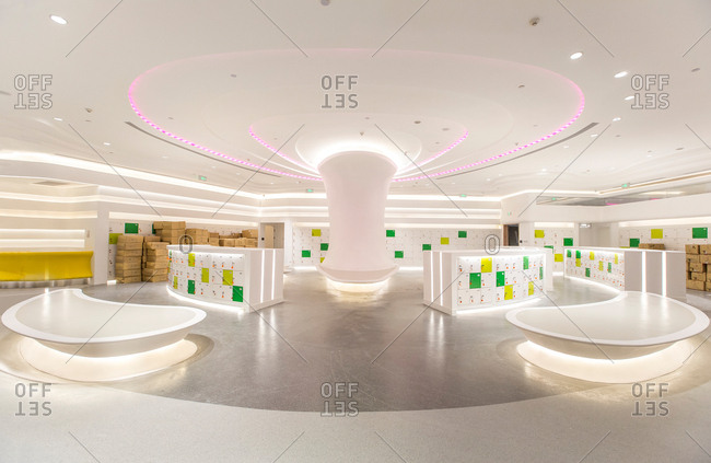 Qingdao, China-October 15, 2015: Inside view of a large shopping mall