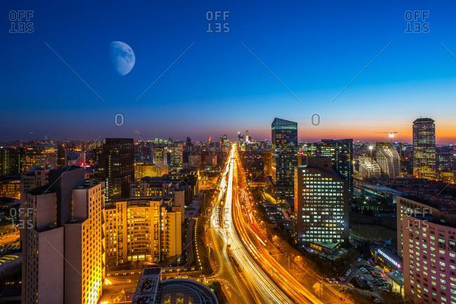 Beijing, China-December 1, 2014: Beijing full moon night